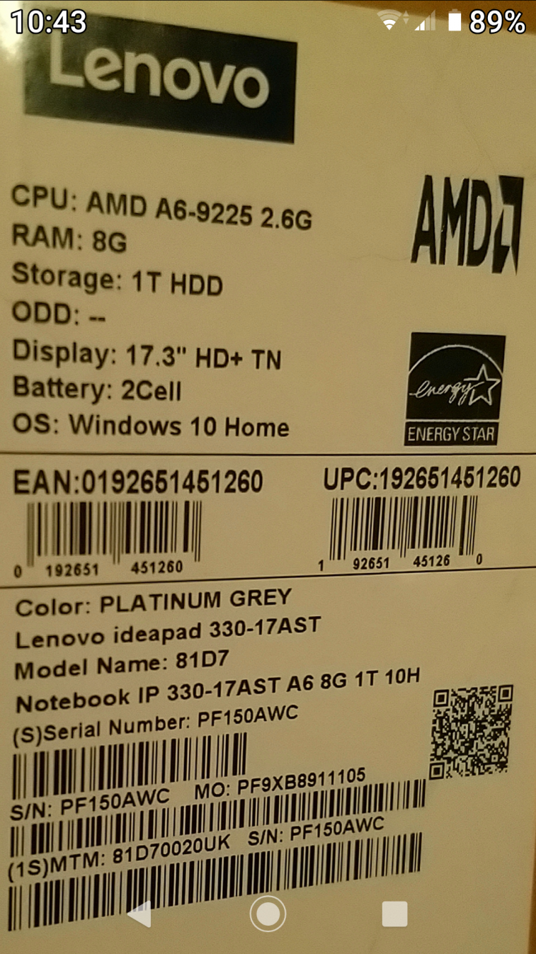 Lenovo ideapad 17.2 inch 8ram 1tb